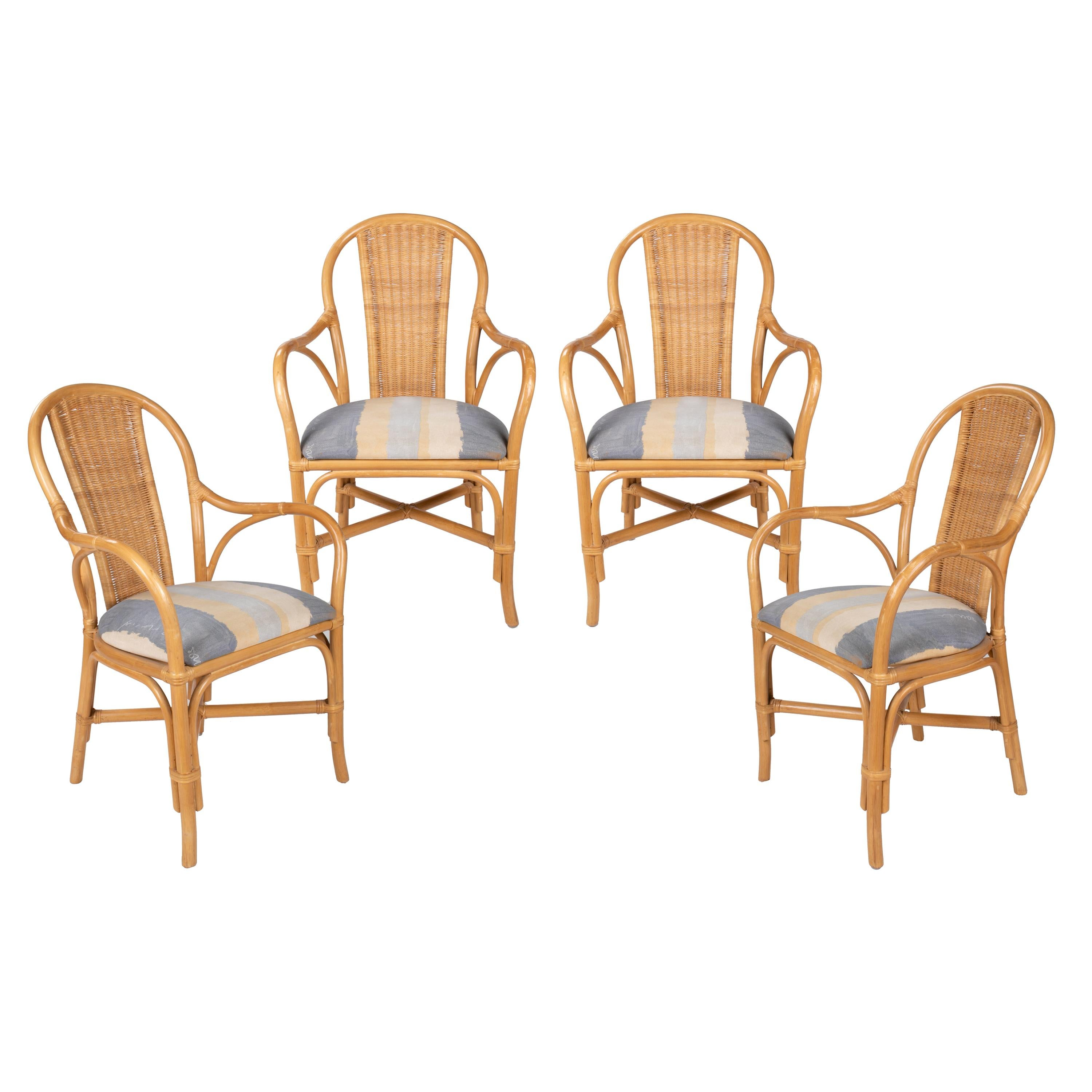 1980s Set of Four Spanish Bamboo and Wicker Upholstered Armchairs