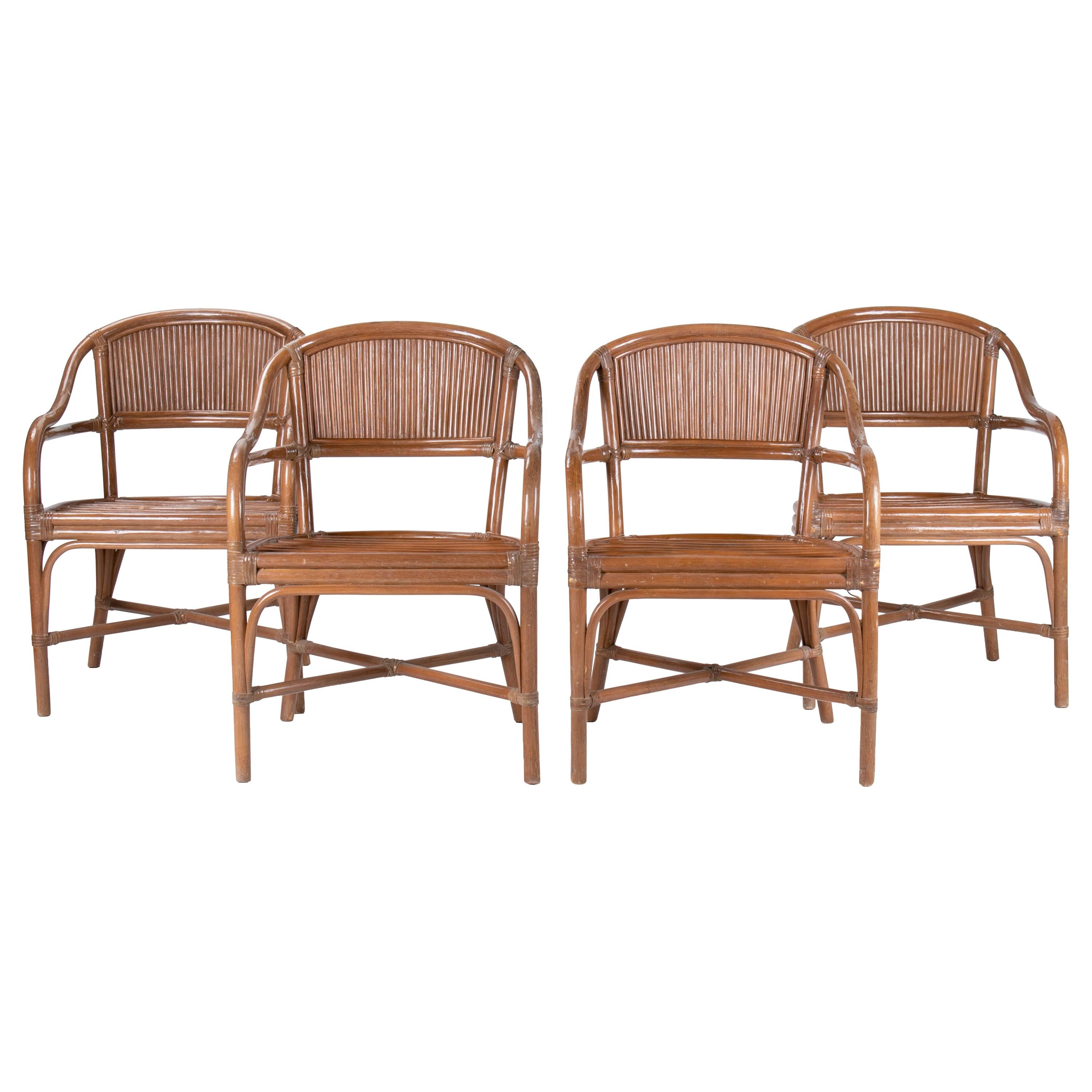1980s Set of Four Spanish Bamboo Armchairs