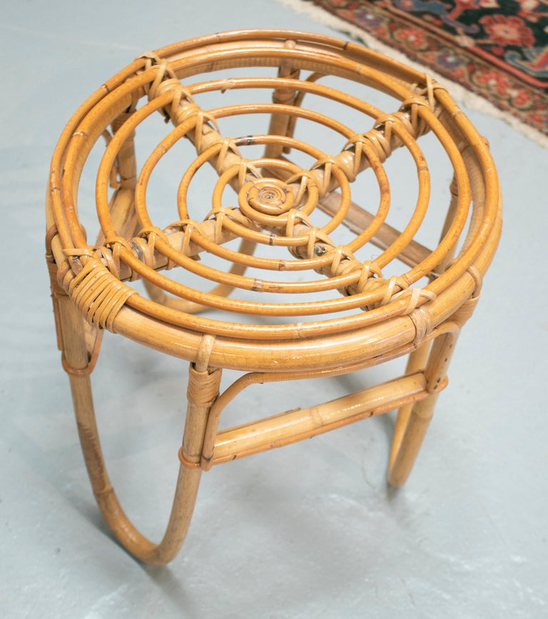 1980s Set of Four Spanish Bamboo Stools For Sale 8