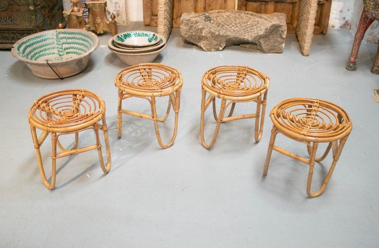 1980s set of four Spanish bamboo stools.