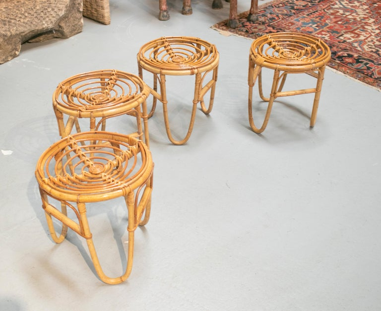 1980s Set of Four Spanish Bamboo Stools In Good Condition For Sale In Malaga, ES