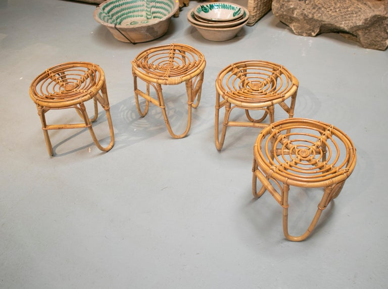 20th Century 1980s Set of Four Spanish Bamboo Stools For Sale