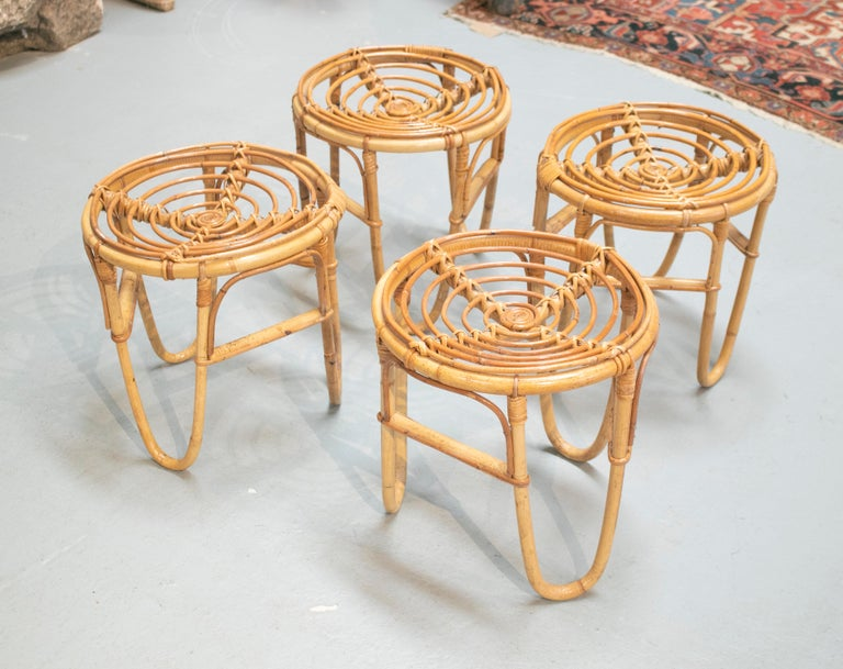1980s Set of Four Spanish Bamboo Stools For Sale 1
