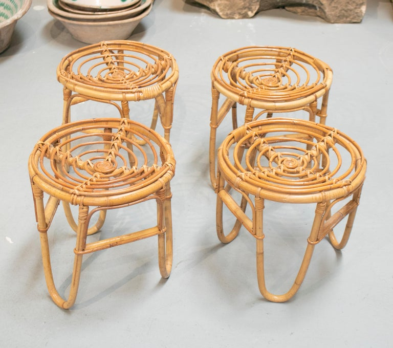 1980s Set of Four Spanish Bamboo Stools For Sale 2