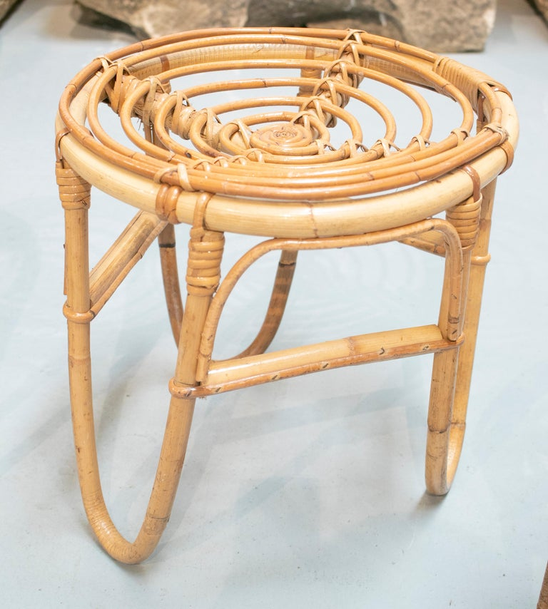 1980s Set of Four Spanish Bamboo Stools For Sale 3