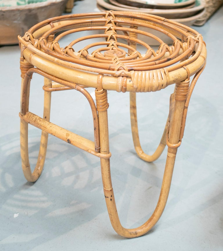 1980s Set of Four Spanish Bamboo Stools For Sale 4