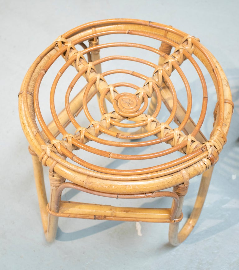 1980s Set of Four Spanish Bamboo Stools For Sale 5