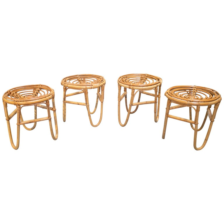 1980s Set of Four Spanish Bamboo Stools For Sale