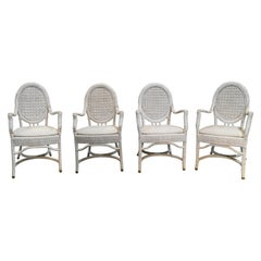 1980s Set of Four Spanish Handmade Wicker Armchairs