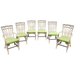 1980s Set of Six Bamboo Chairs with Leather Joints