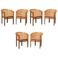 1980s Set of Six Rud Thygesen and Johnny Sørensen King Series Armchairs