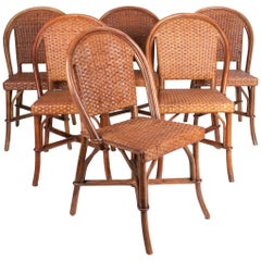 1980s Set of Six Spanish Wicker and Wood Chairs