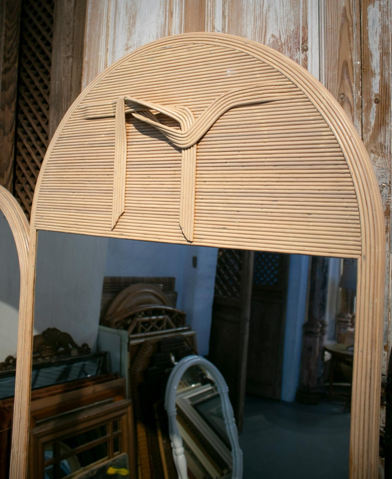 1980s Set of Three Designer Bamboo Mirrors In Good Condition For Sale In Malaga, ES