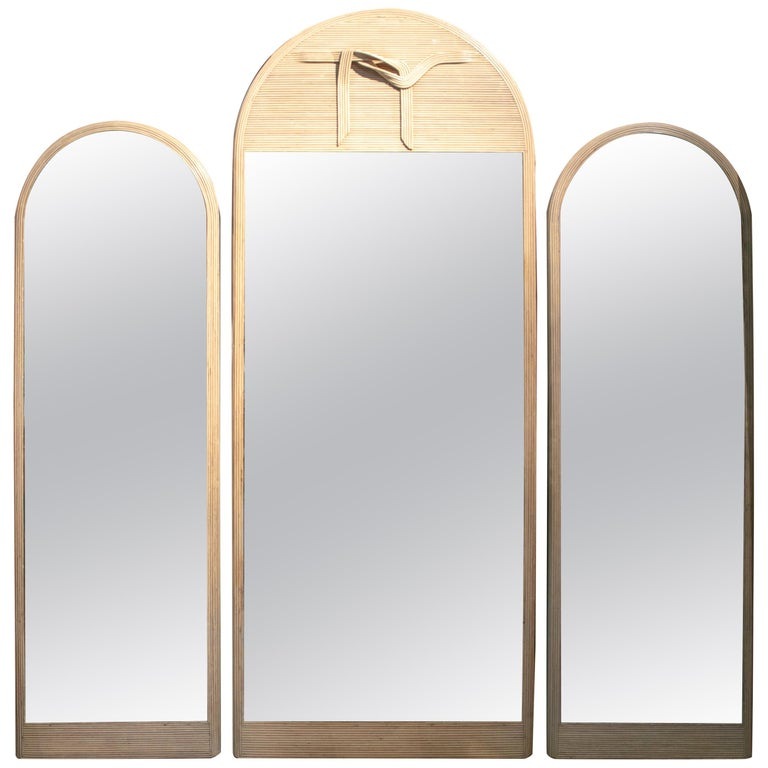 1980s Set of Three Designer Bamboo Mirrors For Sale