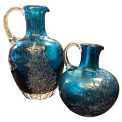 1980s Set of Two Vintage Blue and Gray Glass Italian Jugs