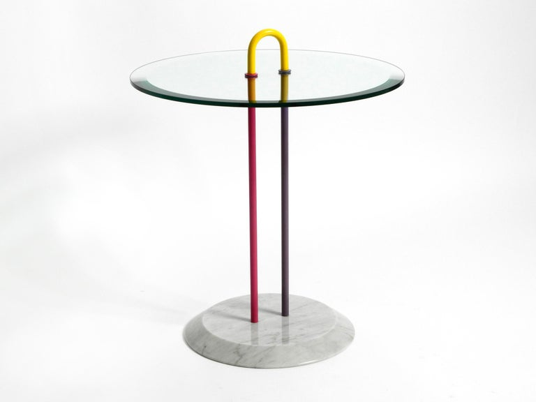 1980s Side Table Made of Glass and Marble Vico Magistretti for Cattelan Italia 9