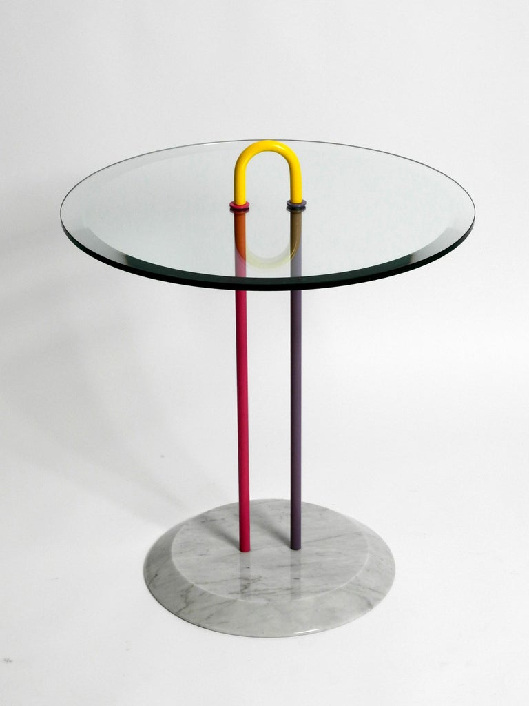 Post-Modern 1980s Side Table Made of Glass and Marble Vico Magistretti for Cattelan Italia