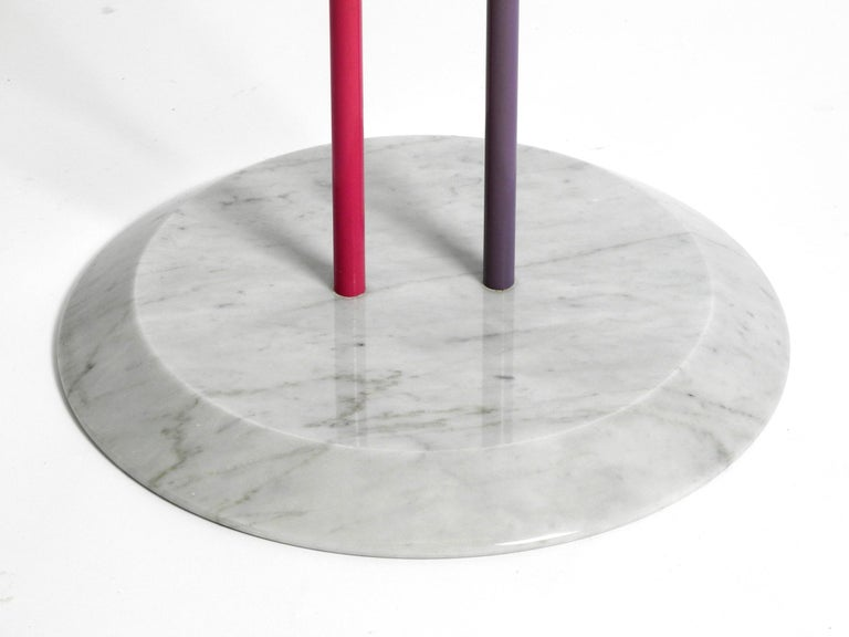 Late 20th Century 1980s Side Table Made of Glass and Marble Vico Magistretti for Cattelan Italia