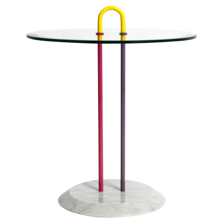 1980s Side Table Made of Glass and Marble Vico Magistretti for Cattelan Italia