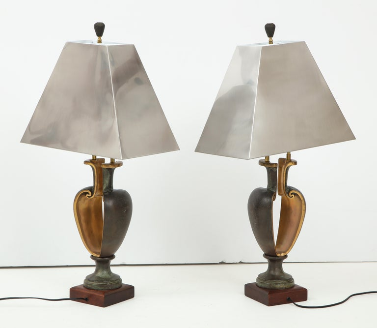 1980s Signed Brutalist Bronze Table Lamps For Sale 1