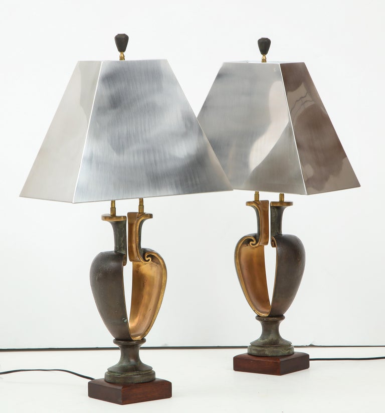 1980s Signed Brutalist Bronze Table Lamps For Sale 2