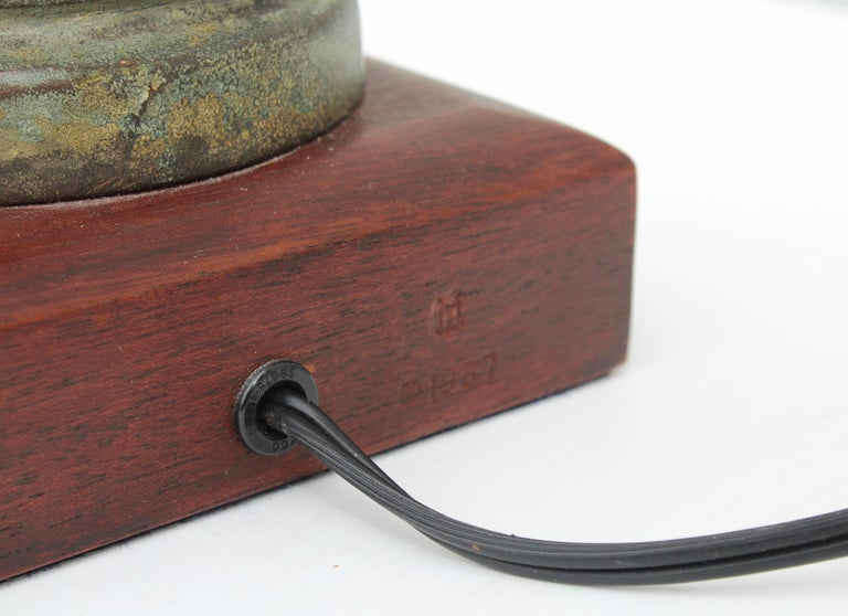 1980s Signed Brutalist Bronze Table Lamps For Sale 6