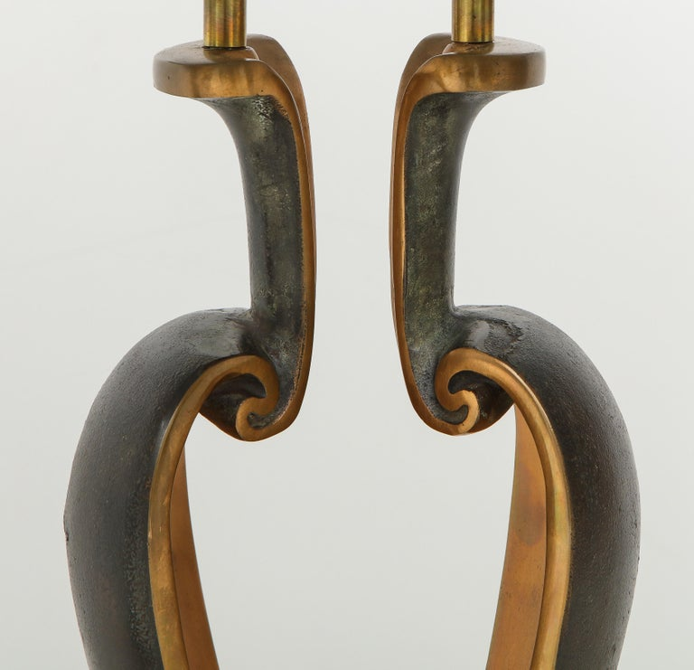1980s Signed Brutalist Bronze Table Lamps In Good Condition For Sale In New York City, NY