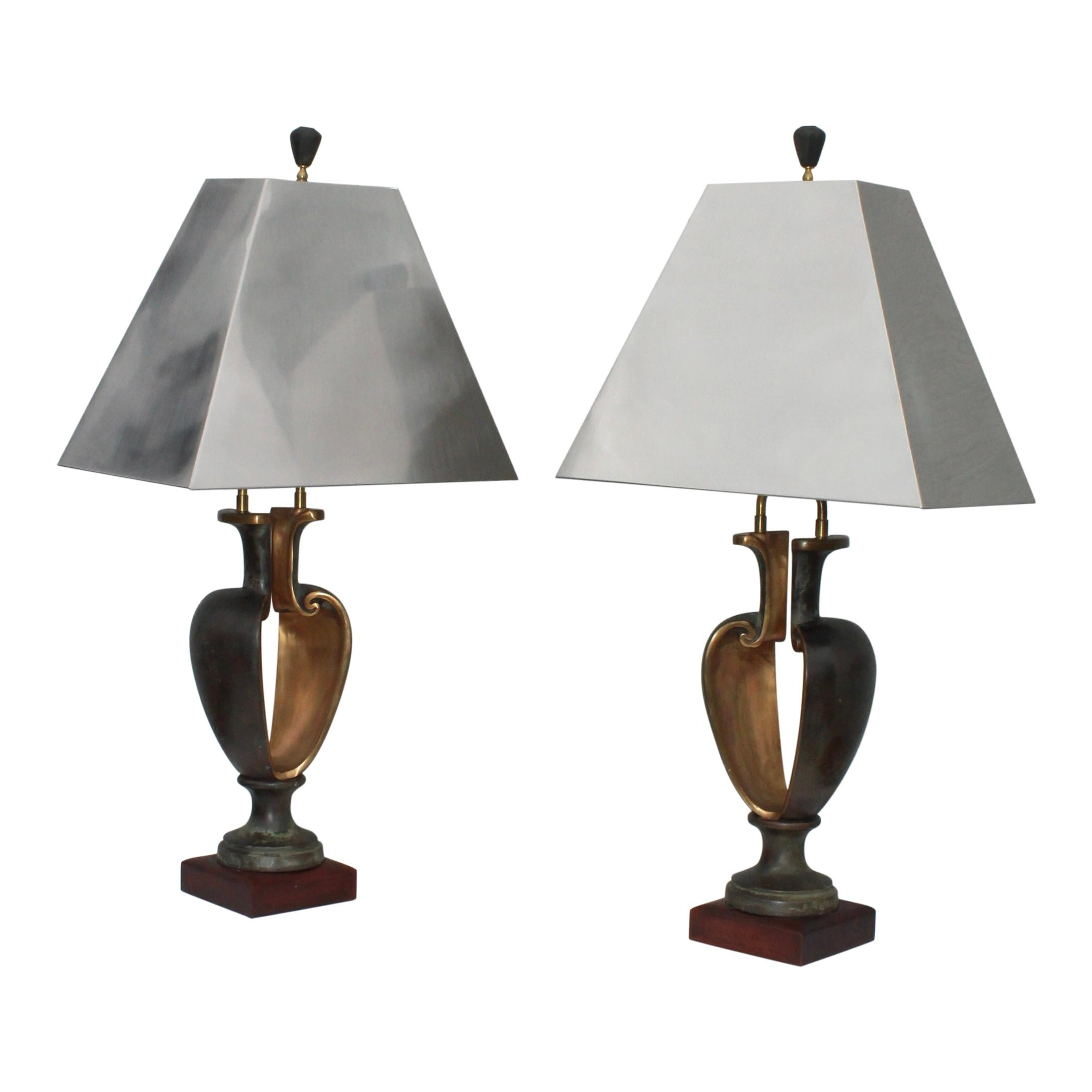 1980s Signed Brutalist Bronze Table Lamps