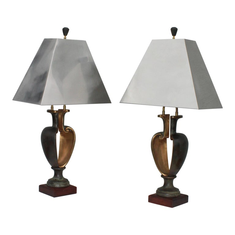 1980s Signed Brutalist Bronze Table Lamps For Sale