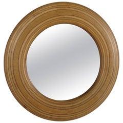 1980s Signed Circular White Birch Mirror