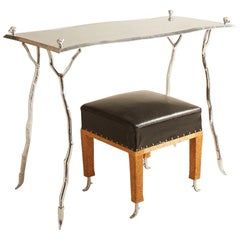 1980s Signed Michael Ray & Paul Mathieu Desk and Petite Bench