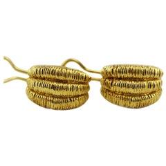 1980s Signed OWC 18 Karat Solid Gold Italian Earrings