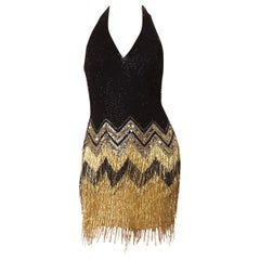 1980S  Black & Gold Silk Chiffon Beaded Flapper Backless Halter Cocktail Dress