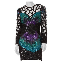 1980S  Black & Purple Silk Fully Beaded Butterfly Wing Cut-Out Cocktail Dress