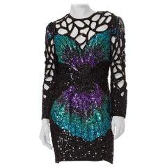 1980S  Silk Beading Dress With Cutouts