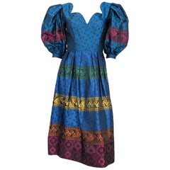 1980s Silk Brocade Multi Colored Dress with Oversized Puff Sleeves