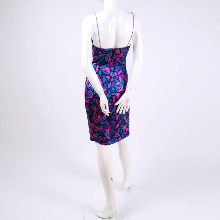 AJ Bari Pink Blue and Purple Jewel Toned Silk Dress with Draping, 1980 In Excellent Condition For Sale In Portland, OR