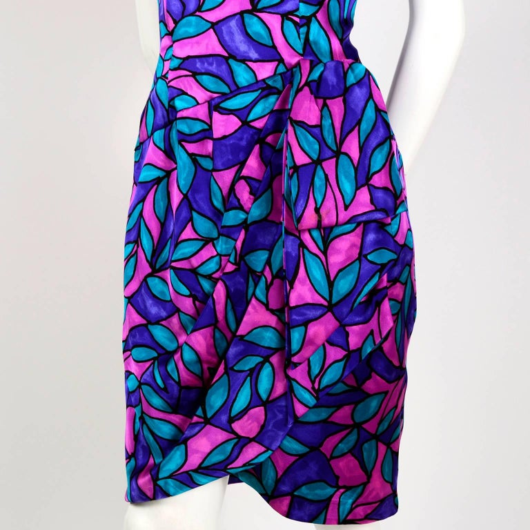 AJ Bari Pink Blue and Purple Jewel Toned Silk Dress with Draping, 1980 For Sale 1