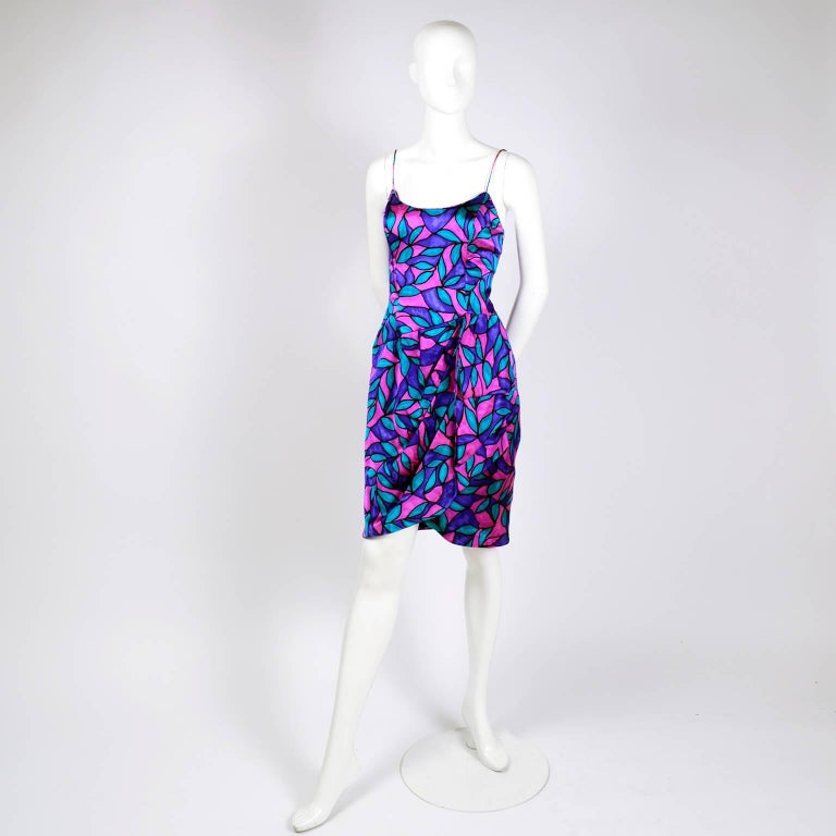 AJ Bari Pink Blue and Purple Jewel Toned Silk Dress with Draping, 1980 For Sale 3