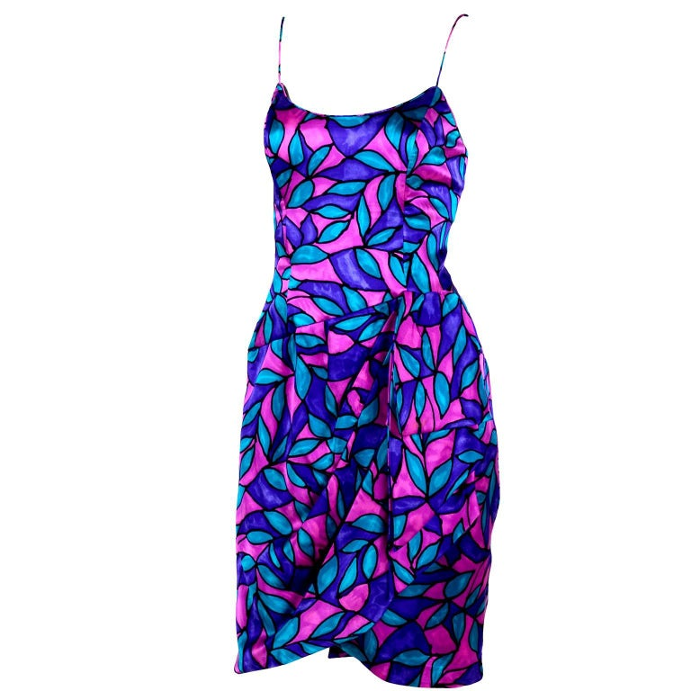AJ Bari Pink Blue and Purple Jewel Toned Silk Dress with Draping, 1980 For Sale