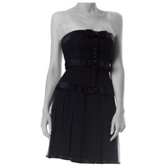 1980S  Silk Fully Boned Strapless Pleated Bow Dress