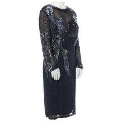 1980S Black Silk Chiffon Long-Sleeve Elaborately Hand Beaded Cocktail Dress