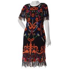 1980S  Silk Tribal Inspired With Beaded Fringe Cocktail Dress1980S  Silk Tribal