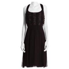 1980'S Black Silk Mousseline & Satin Basket-Weave Bodice Cocktail Dress With On