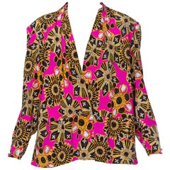 1980'S Silky Poly Blouse With Ysl Style Costume Jewelry Bling Print