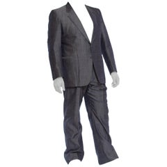 1980'S Silver Blue Silk Blend Sharkskin Men's 60S Style Pant Suit