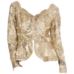"""1980S Silver & Gold Beaded  """"Dynasty"""" Style Long Sleeve Jacket Top With Peplum"""