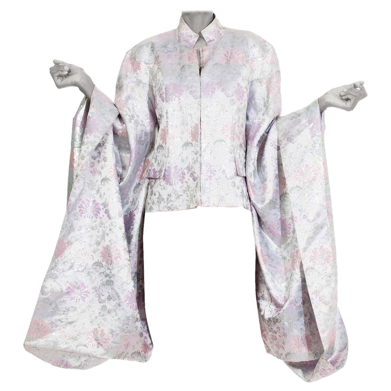 1980S Silver Metallic Silk  Kimono Oversizes Sleeves