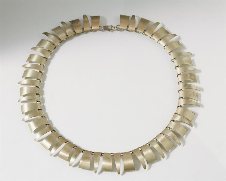 1980s Silver Scandinavian Modern Necklace, Anonymous, Rebild Art, Denmark In Excellent Condition For Sale In Stockholm, GB