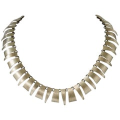 1980s Silver Scandinavian Modern Necklace, Anonymous, Rebild Art, Denmark